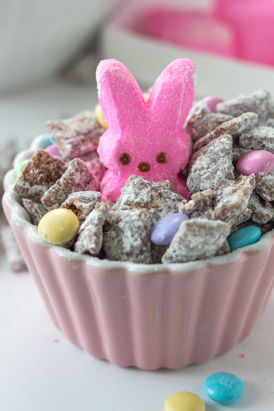 Bunny Chow  and a Pink Peep in a small pink bowl.