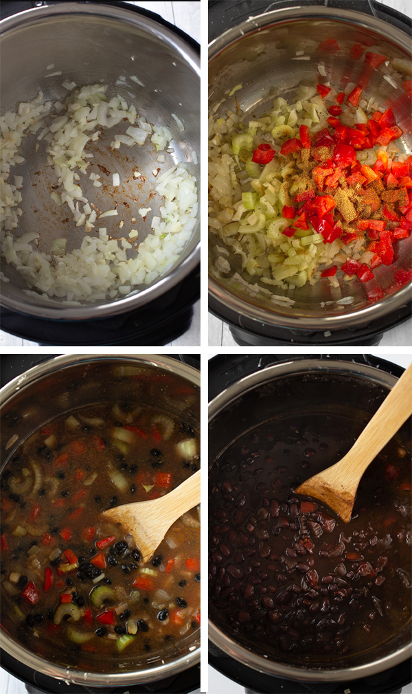 Process shots of adding ingredients to the instant pot.