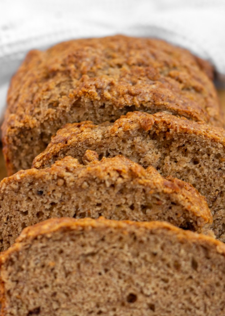 Close up of sliced banana bread.