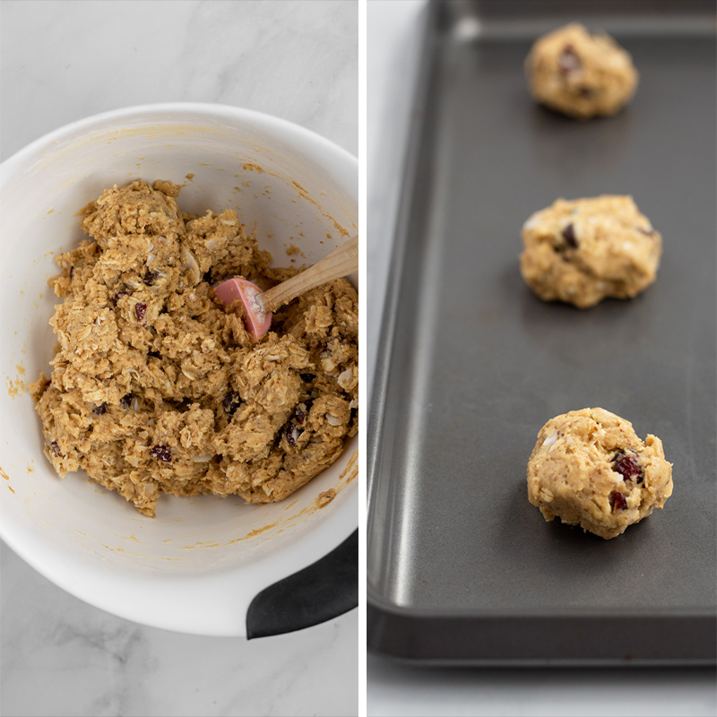 Cookie dough in a bowl and on a baking tray.