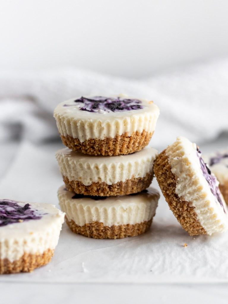 Blueberry Cheesecake Bites stacked.
