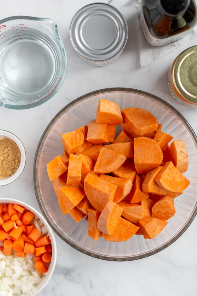 Sweet potato coconut curry soup ingredients.