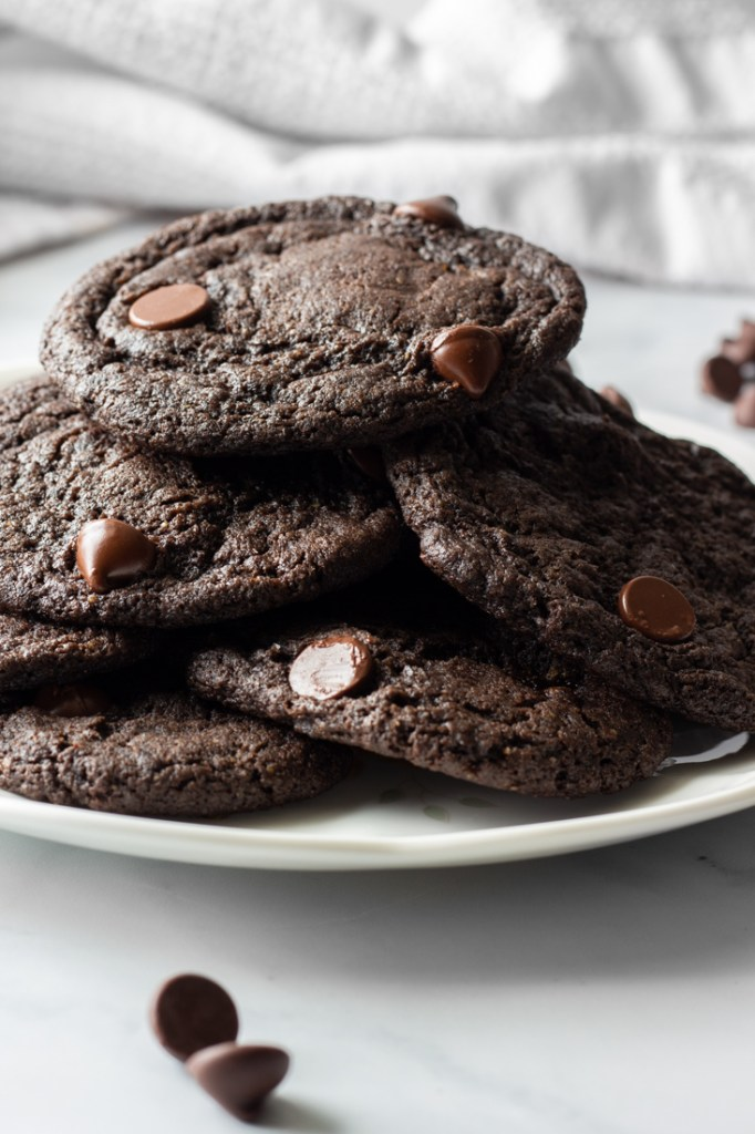 Plate of double chocolate chip cookies.