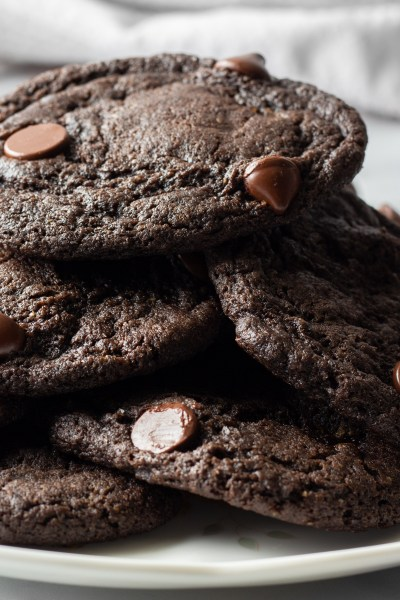Stack of cookies on plate.