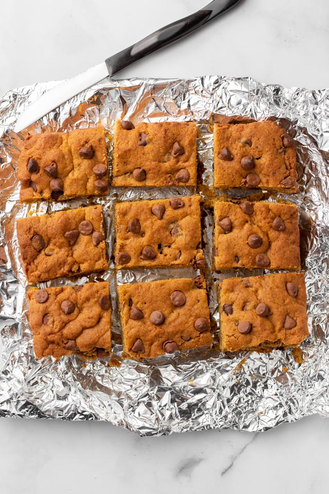 Pumpkin Bars cut into squares.