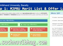 MJPRU Merit List 2020-21 UG & PG offer Letter