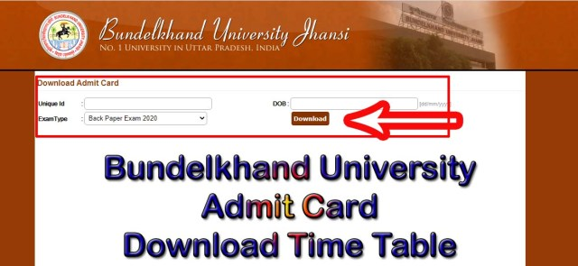 Bundelkhand University Admit Card 2021 Download Time Table