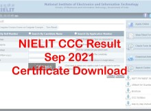 NIELIT CCC Result September 2021 by Name & Certificate Download