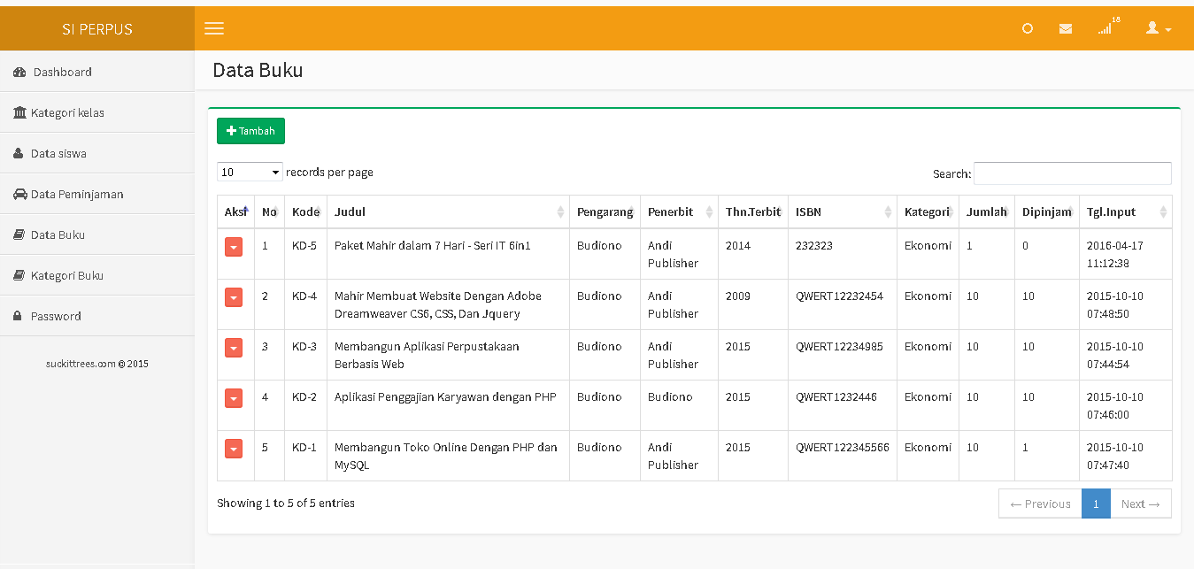 sistem informasi perpustakaan php mysql
