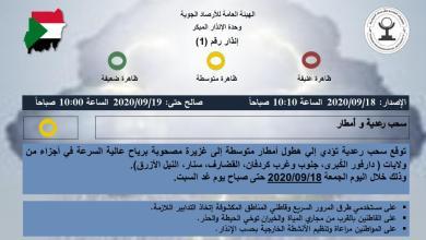 "Photo of سحب رعدية وأمطار اليوم ""الجمعة"" بعدد ""10"" ولايات سودانية… تعرف عليها"