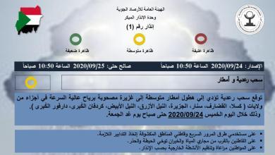"Photo of سحب رعدية وأمطار اليوم ""الخميس"" في ""14"" ولاية سودانية.. تعرف عليها"