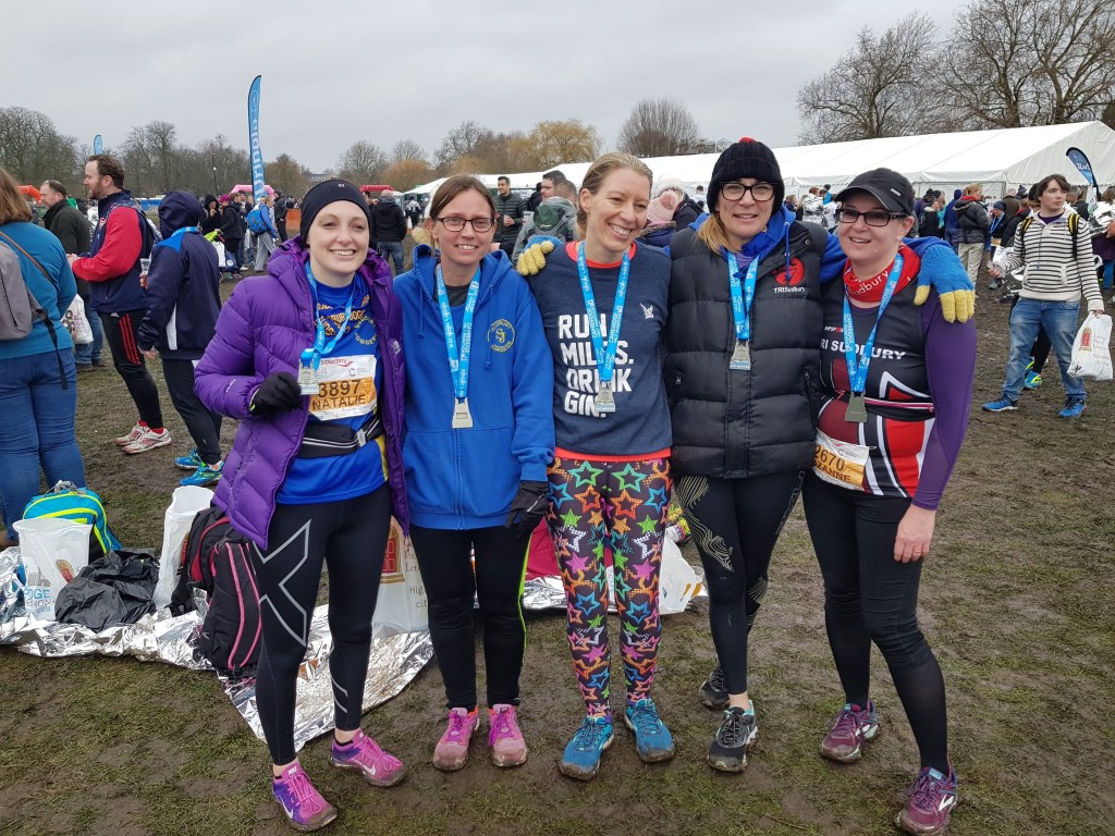 Natalie Jones, Jenny Merry, Melonie Evans and Suzanne at the Cambridge Half