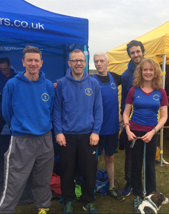 Andy Buck, Wayne Mumford, Cliff Manning, Kieran Hayles, Ruth Cowlin at Fritton XC 2018