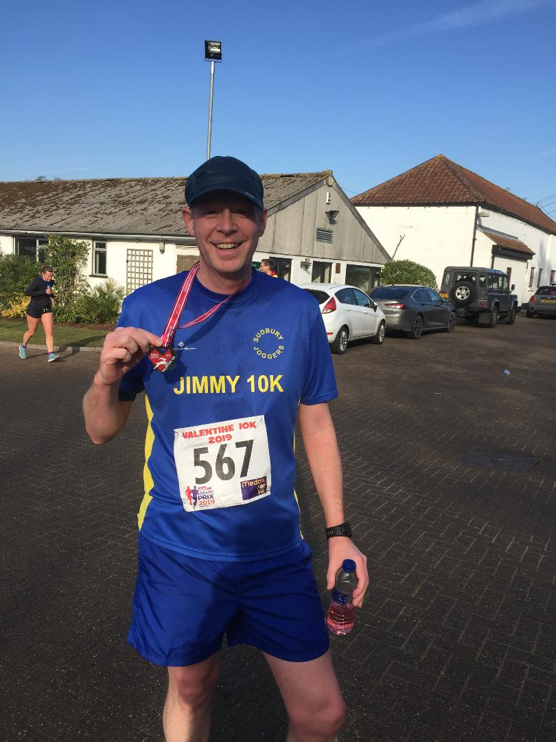 Jimmy Secker after completing the Valentines 10km