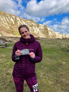Sarah Pennock after completing the 100 mile ultra of the Samphire Challenge.