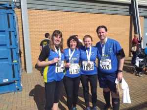 Jodie Budd, Ann Alexander, Claire Rooke and Steve Roberts after finishing the Colchester Half Marathon.
