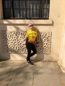 Sue Crawte posing after the London Landmarks Half Marathon.