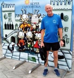 Hugh Turner about to add a few miles to his September 2019 Mix'n'Match Marathon total while in Koper, Slovenia.