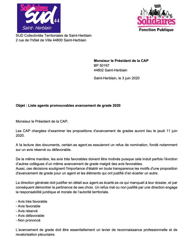 Avancement de grade Syndicat Saint-Herblain