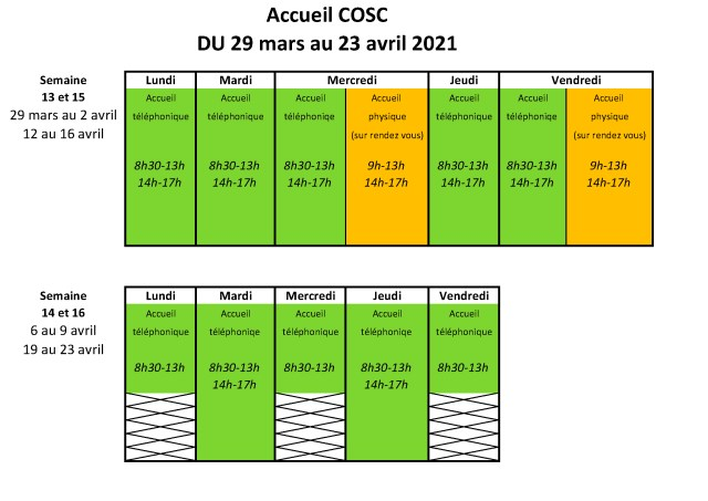 La Ville de Saint-Herblain a ouvert un centre de vaccination au Vigneau. Compte tenu de la réquisition des agents du COSC,le planning des accueils du COSC va changer du 29 mars au 23 avril 2021.N'hésitez pas à envoyer vos documents par mail (cosc@saint-herblain.fr), par le site (www.coscsaintherblain.fr), par courrier postal ou interne ou bien en déposant dans la boite aux lettres du COSC.