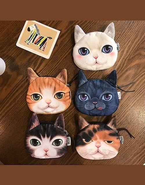 Cute Kawaii Neko Solcat Black Cat Ear Coin Makeup Pouch Purse Sun Kitty Wings Minky Zipper