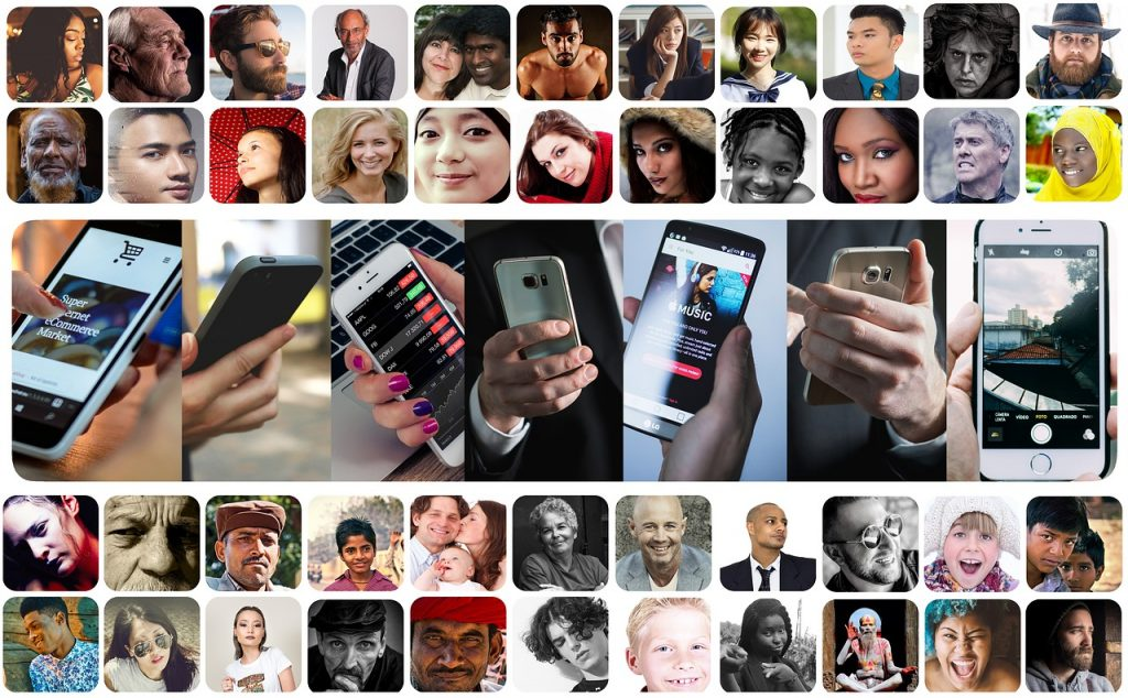 a collage of people's faces, with many different ethnicities respresented, and closeups of hands holding smart phones