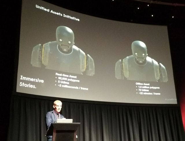 a side by side comparison of Rogue One's K-2SO as created by Renderman and Unreal Engine, on the screen above Eoghan Cunneen.