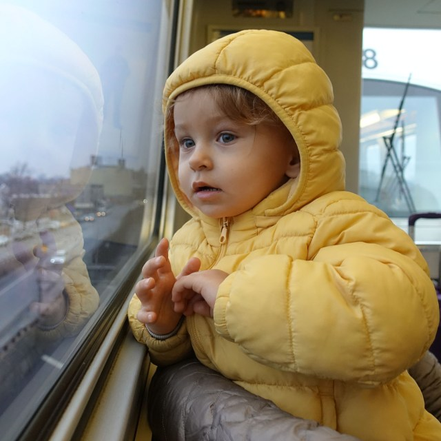 Anastasia on AirTrain on the way to JFK