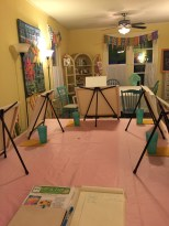 Easels set up, ready for the class