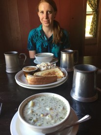 Kat ready to eat the delicious corn chowder at Hawk's Head