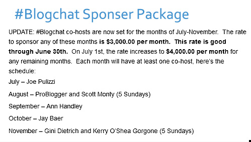 #blogchat sponsorship package