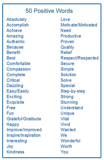 50 Positive Words for Blog Posts