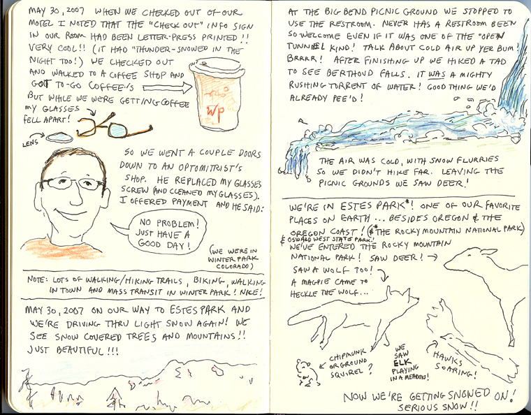 page from Sue Clancy's Oregon Coast sketchbook