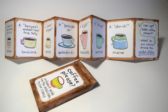 """side A of """"Coffee Please?"""" by Sue Clancy - a unique handmade artist book"""
