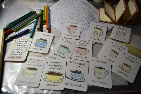 """Pages from an artist book being created by Sue Clancy titled """"Coffee Please? A dialect guide for the United States"""""""