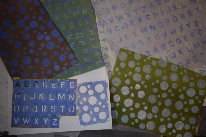 Sue Clancy's newly hand stenciled, hand dyed handmade papers she'll use to make new artworks
