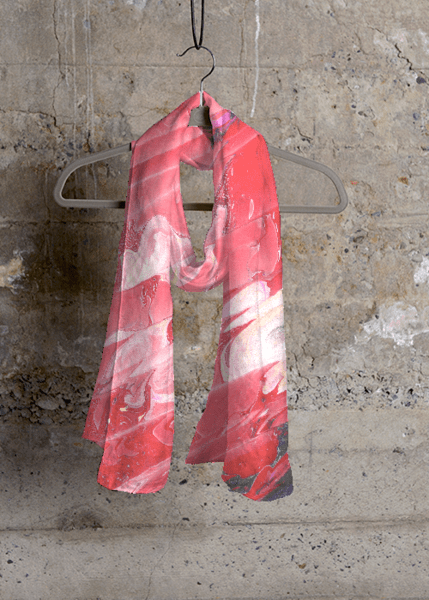 "Scarf with a pattern design by Sue Clancy titled ""Red Wine Pouring"" http://shopvida.com/collections/voices/sue-clancy"