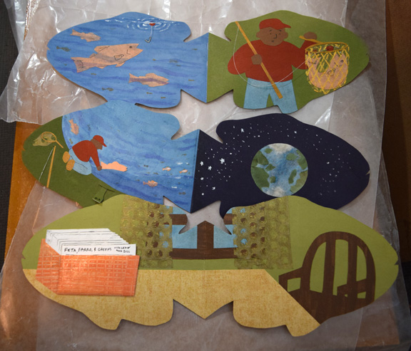 "A few of the dry pages from the pop-up book ""A Fish Story"" by Sue Clancy"