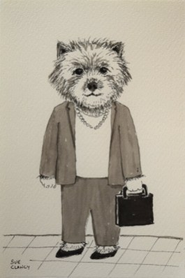 """Beauty by Sue Clancy (ink on handmade paper) currently at Caplan Art Designs gallery www.caplanartdesigns.com and in my new book """"Dogs by Sue Clancy"""" https://store.bookbaby.com/book/Dogs-By-Sue-Clancy"""