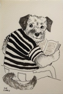 """Corky Reading"" by Sue Clancy - ink on handmade paper"