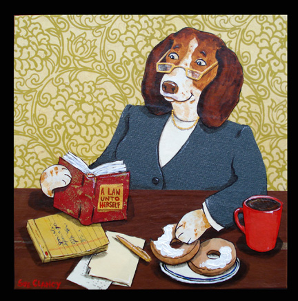 Ms. Legal Beagle by Sue Clancy (mixed media handmade paper collage)