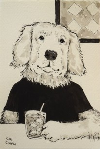 """Leo"" by Sue Clancy - ink on handmade paper"