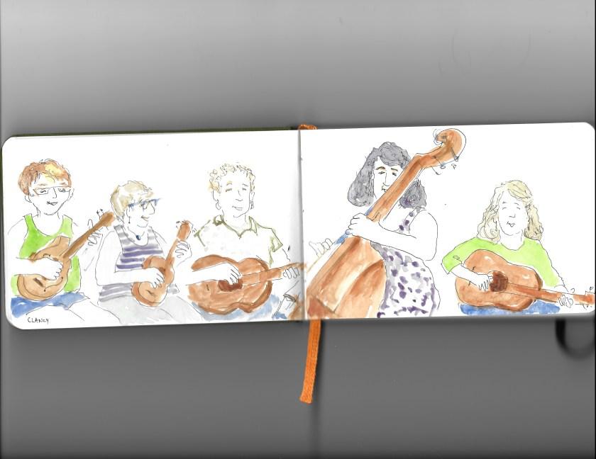 Clancy sketch of women musicians in action