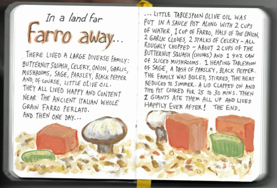 "pages from my ""Mouthpiece Four"" kitchen sketchbook"