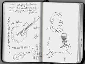 music instrument research and guy drinking wine