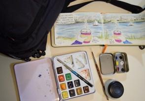 """Sue's """"Running Around Loose"""" sketching kit"""