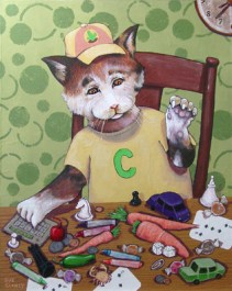Capped Cat Counting Collectables (More than 20 things in this picture begin with the letter C. Can you find them?) By Clancy 20 x 16 x 2 hand dyed paper, handmade paste paper and acrylic on cradled board
