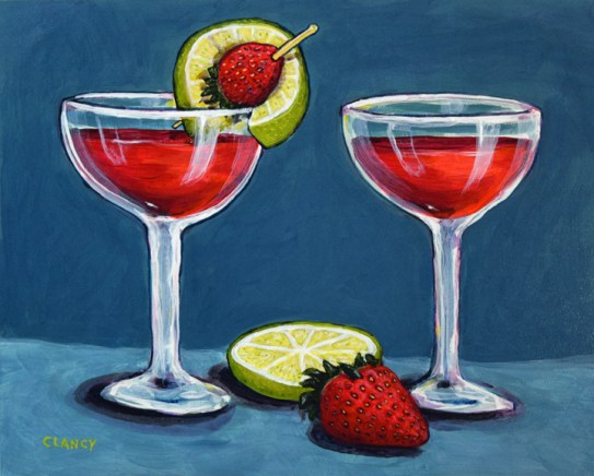 """""""Strawberry Daiquiris"""" - by Clancy - 8 x 10 inches - acrylic and gouache on board"""
