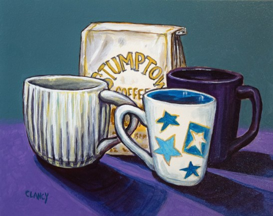 """""""Coffee With Friends"""" - by Clancy - 8 x 10 inches- acrylic and gouache on board"""