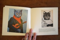 "Page spread from ""Cats by Sue Clancy"" containing the only text in the book."